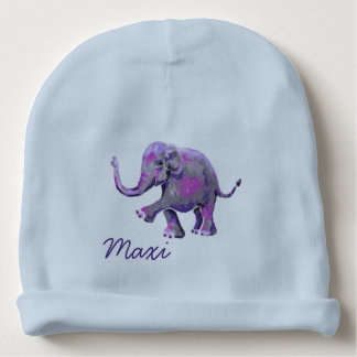 Babyblue Custom Name Cute Cheeky Baby Elephant Baby Beanie