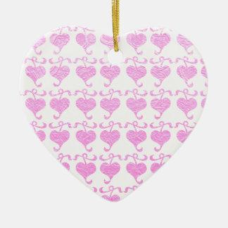 BabyPink Silken Shine Jewel Print Ceramic Heart Decoration