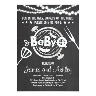 BabyQ BBQ Couples Shower Coed Baby Shower White Card