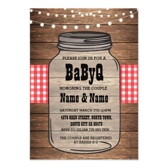 BaByQ Gender Reveal Baby Shower Red Check Invite