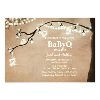 BabyQ invitation Coed BBQ Shower Rustic Lights