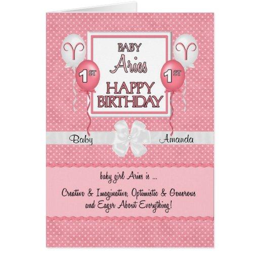 Baby's 1st Birthday Aries Zodiac Card