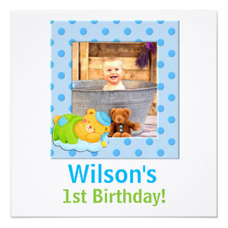 Baby's 1st Birthday | Blue and Green Boy 13 Cm X 13 Cm Square Invitation Card