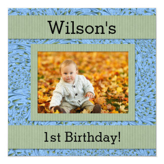 Baby's 1st Birthday   Blue and Green Paisley 13 Cm X 13 Cm Square Invitation Card