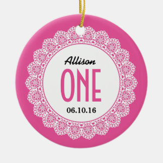 Baby's 1st Birthday Memento Pink with Lace B01 Christmas Ornament
