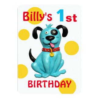 Baby's 1st Birthday Party Cute blue Puppy Dog Boy 13 Cm X 18 Cm Invitation Card