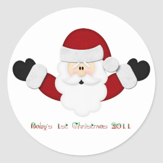 Babys 1st Christmas 2011 Classic Round Sticker
