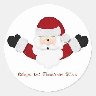 Babys 1st Christmas 2011 Round Sticker