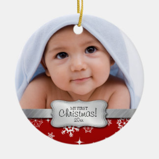 Baby's 1st Christmas.  Add your photo Round Ceramic Decoration