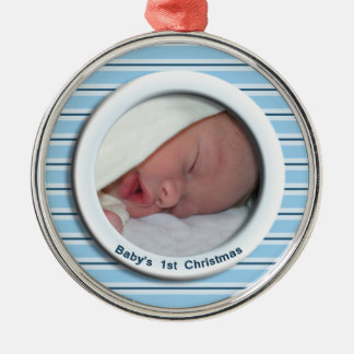 Babys 1st Christmas Blue Striped Photo Silver-Colored Round Decoration