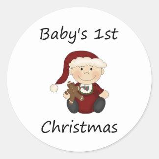 Baby's 1st Christmas (boy) Classic Round Sticker