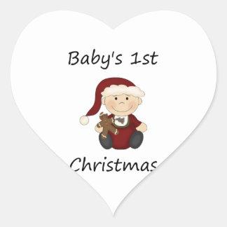 Baby's 1st Christmas (boy) Heart Sticker
