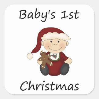 Baby's 1st Christmas (boy) Square Sticker