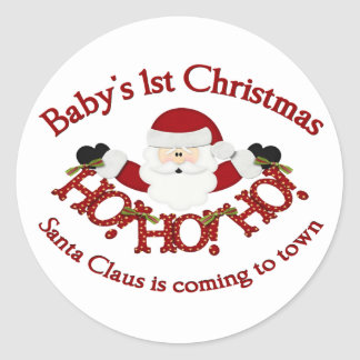 Babys 1st Christmas Classic Round Sticker
