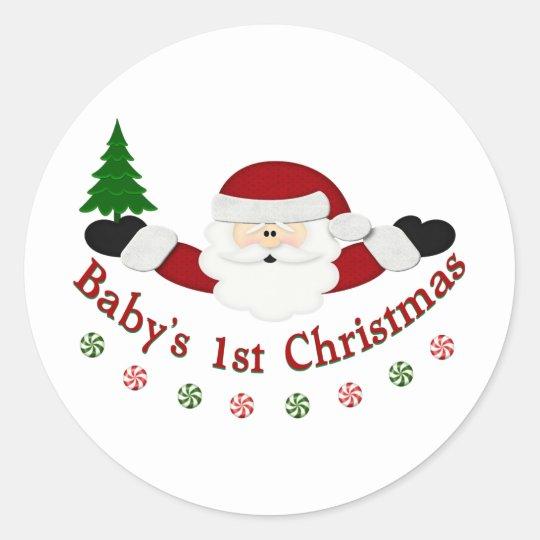 Babys 1st Christmas Classic Round Sticker