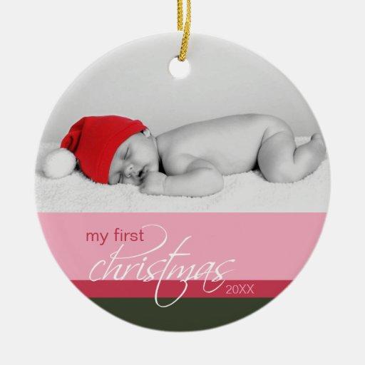 Baby's 1st Christmas Custom Ornament (pink)