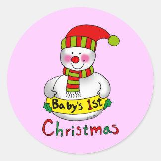 Baby's 1st Christmas (girl) Classic Round Sticker