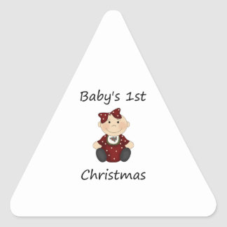 Baby's 1st Christmas (girl) Triangle Sticker