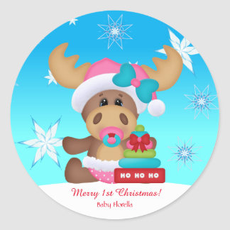 Baby's 1st Christmas Moose Cute Funny Classic Round Sticker