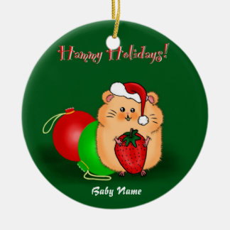 Baby's 1st Christmas Personalized Hamster Cartoon Christmas Ornament