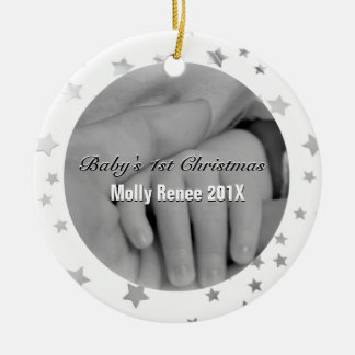 Baby's 1st Christmas Personalized Parent Hands Christmas Ornament