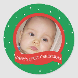 Babys 1st Christmas Personalized Photo Stickers
