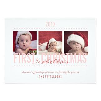 Baby's 1st Christmas Photo Card for Baby Girl 13 Cm X 18 Cm Invitation Card