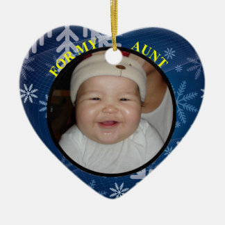 Babys 1st Christmas Photo Gift Tag Ornament Aunt