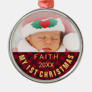 Baby's 1st Christmas Photo Red Plaid Christmas Ornament
