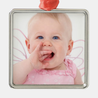 Baby's 1st Christmas Photo Silver-Colored Square Decoration