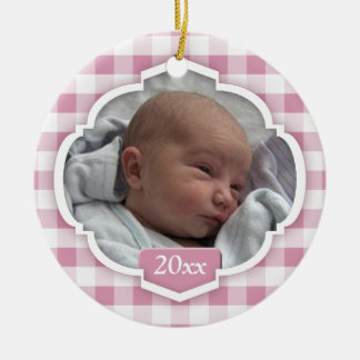 Baby's 1st Christmas Pink Gingham Photo Ornament