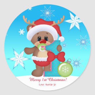 Baby's 1st Christmas Reindeer Cute Funny Classic Round Sticker