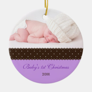 Baby's 1st Christmas - Ribbon (lavender) Christmas Ornament
