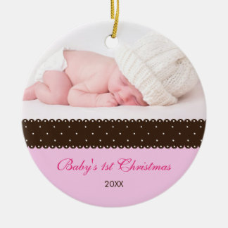 Baby's 1st Christmas - Ribbon (pink) Round Ceramic Decoration