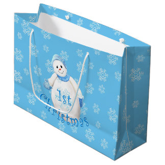 Baby's 1st Christmas Snowman and Snowflakes Large Gift Bag