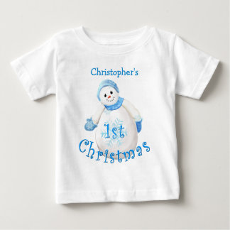 Baby's 1st Christmas Snowman Shirt