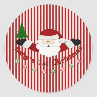 Babys 1st Christmas Round Stickers