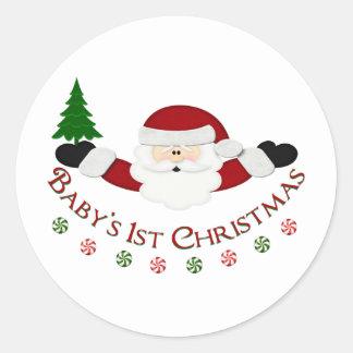 Babys 1st Christmas Round Sticker