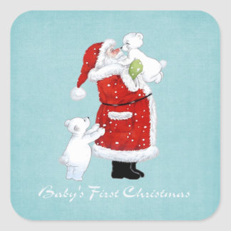 Babys 1st Christmas Square Stickers