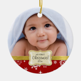 Baby's 1st Christmas. White and Red Snowflakes Round Ceramic Decoration