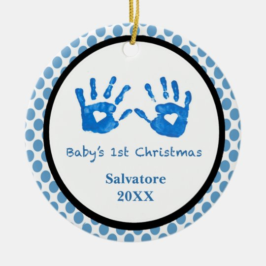 Baby's 1st Christmas With Baby Handprints Ornament