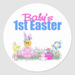 Baby's 1st Easter Gift Classic Round Sticker