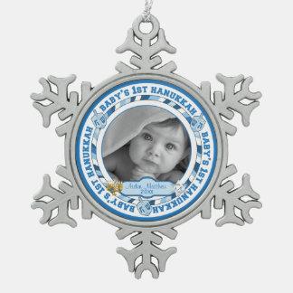 Baby's 1st Hanukkah Photo Name Dreidels Snowflake Pewter Christmas Ornament