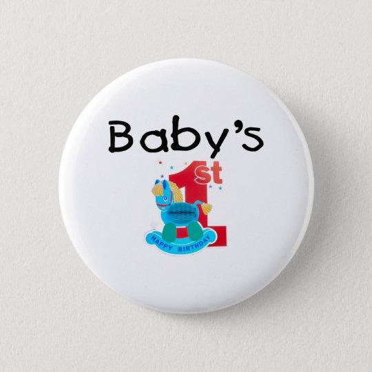 Baby's 1st Happy Birthday 6 Cm Round Badge