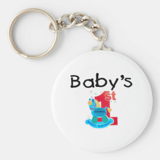 Baby's 1st Happy Birthday Basic Round Button Key Ring
