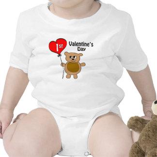 Babys 1st Valentine's Day Bear Theme Tshirt