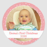 Baby's 1st Xmas Personalised Photo Pink Stickers