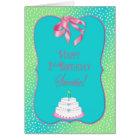 Baby's 2nd BIRTHDAY - Polka dots/bows/blue/pink Card