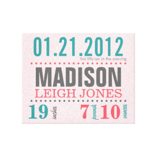 Baby's Birth Date Details Canvas - Cotton Candy Gallery Wrapped Canvas
