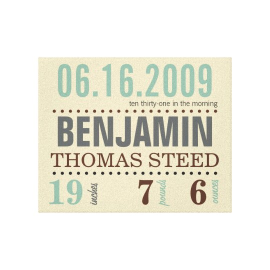 Baby's Birth Date Details Canvas - Sand &